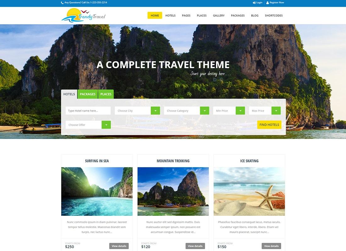 Trendy Travel - Tour, Travel & Travel Agency Theme Website Template