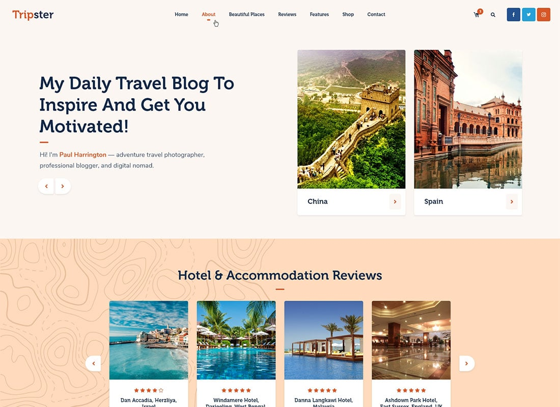Tripster - Travel & Lifestyle WordPress Blog Website Template