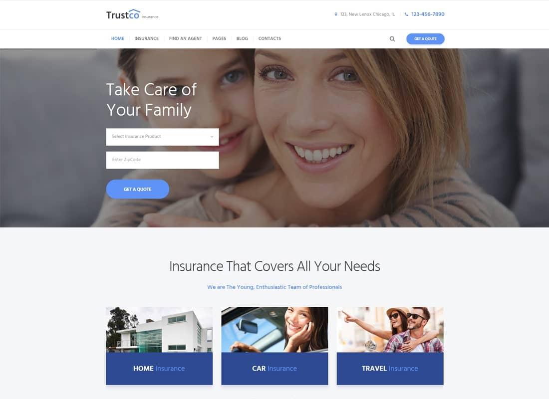 Insurance Agency & Business WordPress Theme Website Template