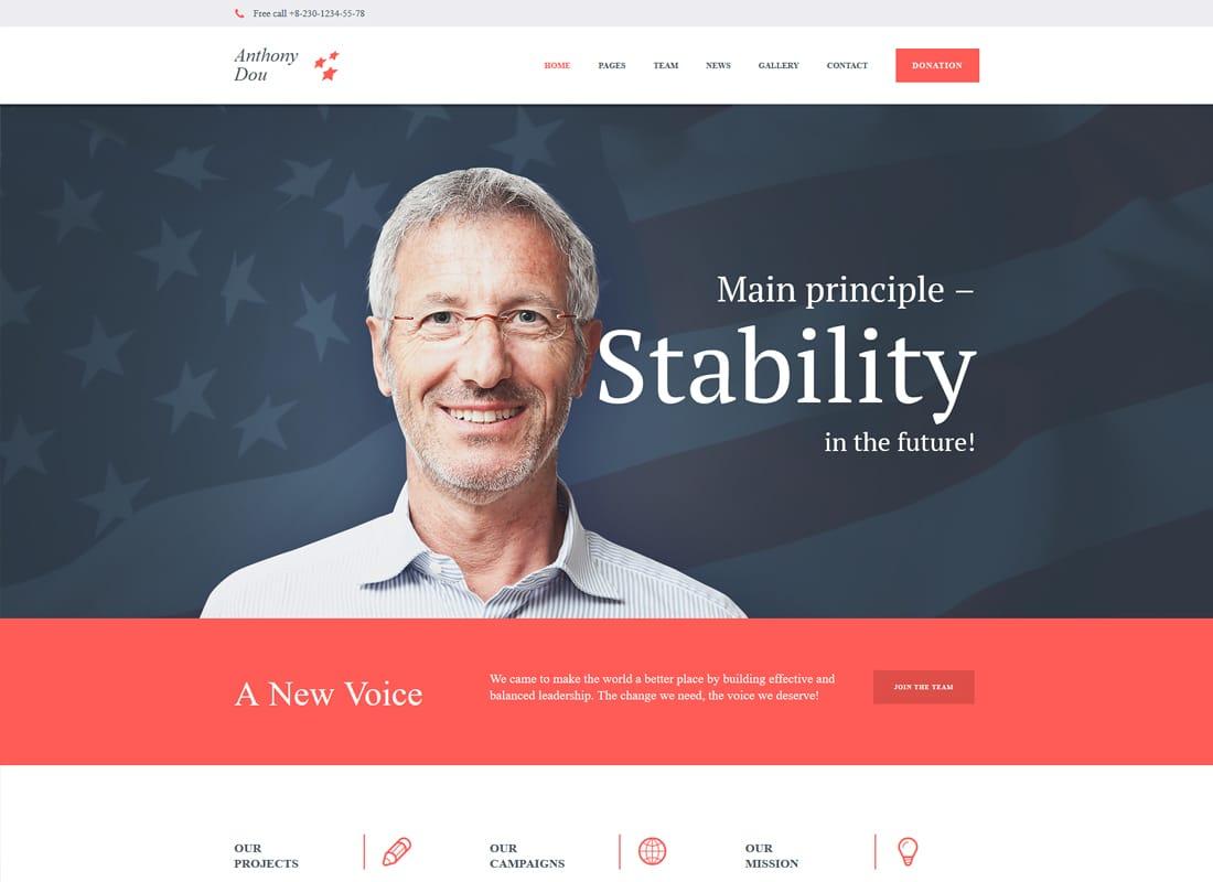Unite - A Modern Political & Social WordPress Theme Website Template