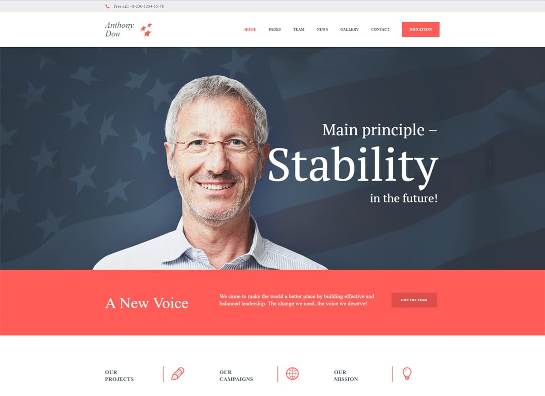 Unite - A Modern Political & Social WordPress Theme Website Template