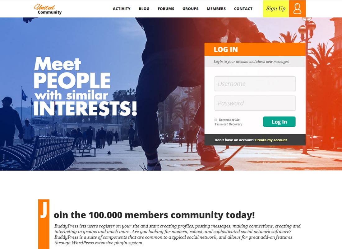 UnitedCommunity - BuddyPress Theme Website Template
