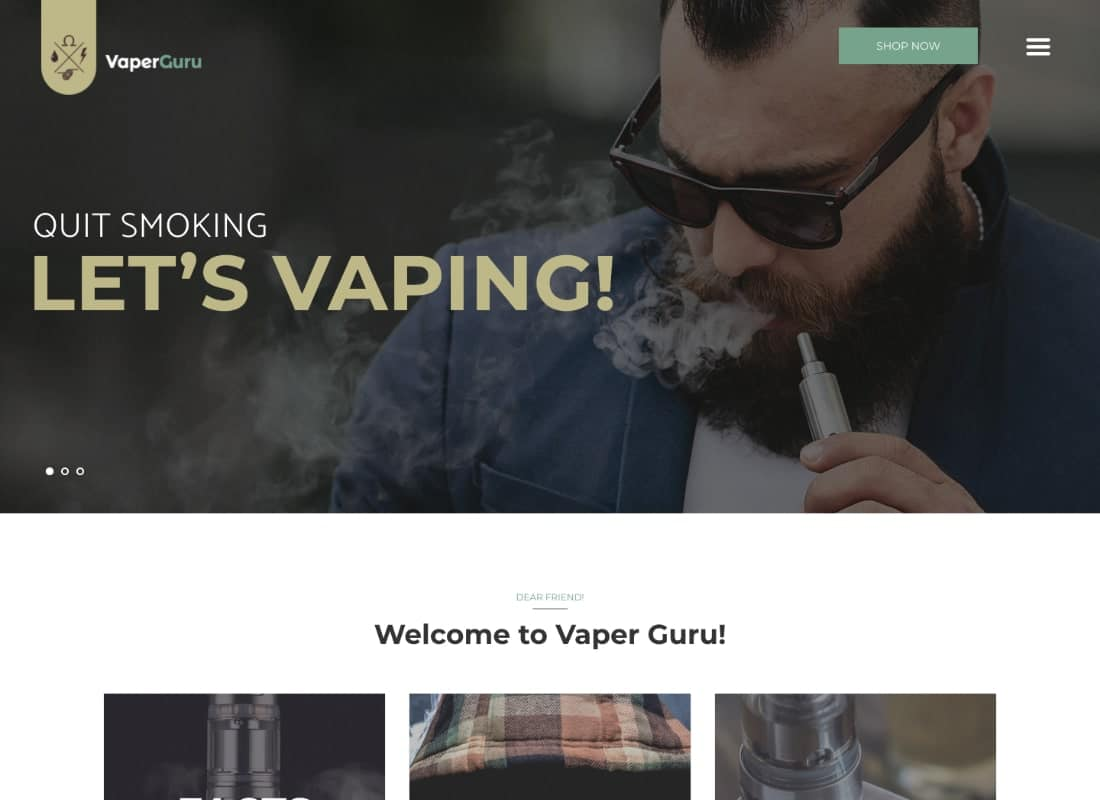 VaperGuru - Vapers Community & Cigarette Store WordPress Theme Website Template