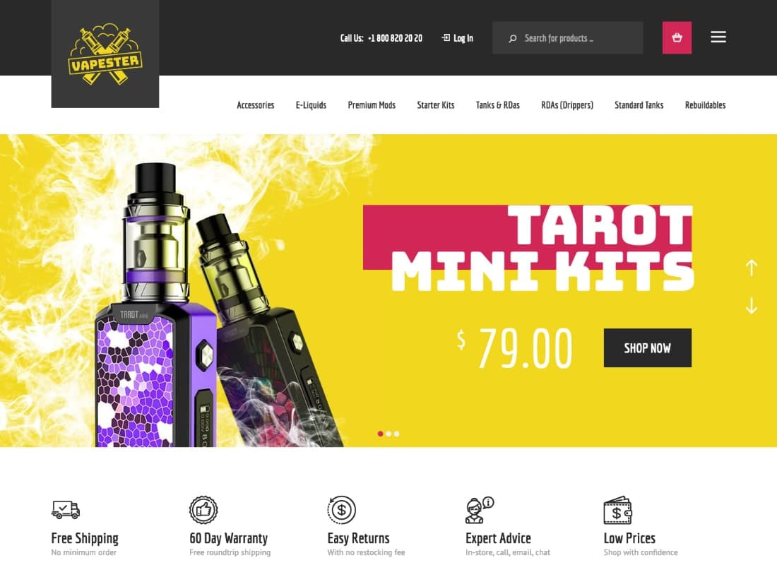 Vapester | Creative Cigarette Store & Vape Shop WooCommerce Theme Website Template