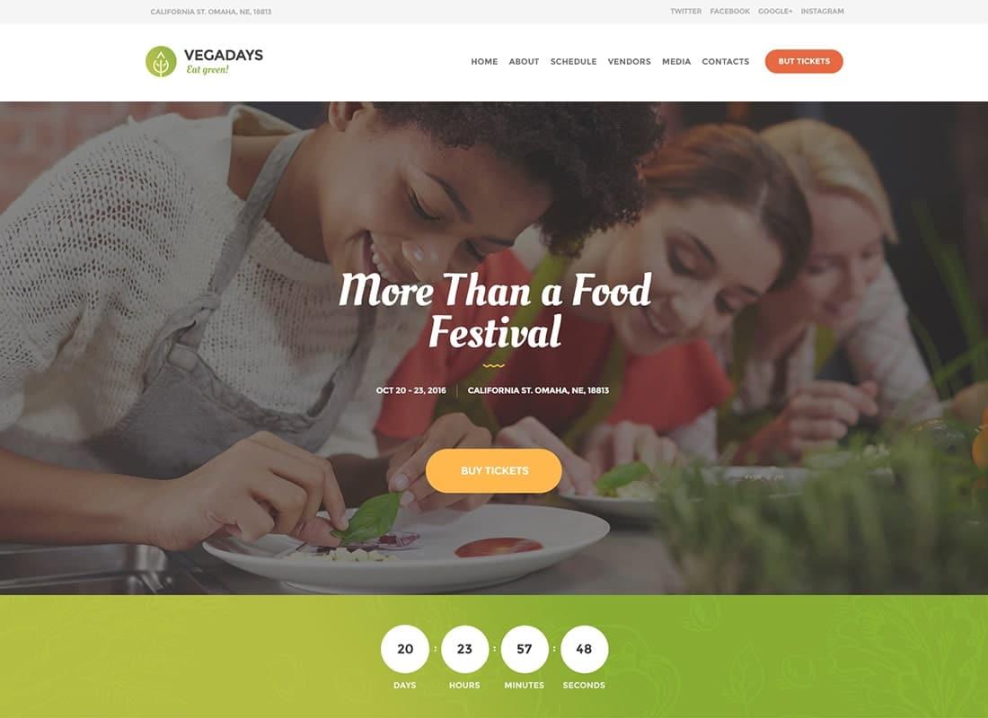 VegaDays - Vegetarian Food Festival & Eco Event WordPress Theme Website Template