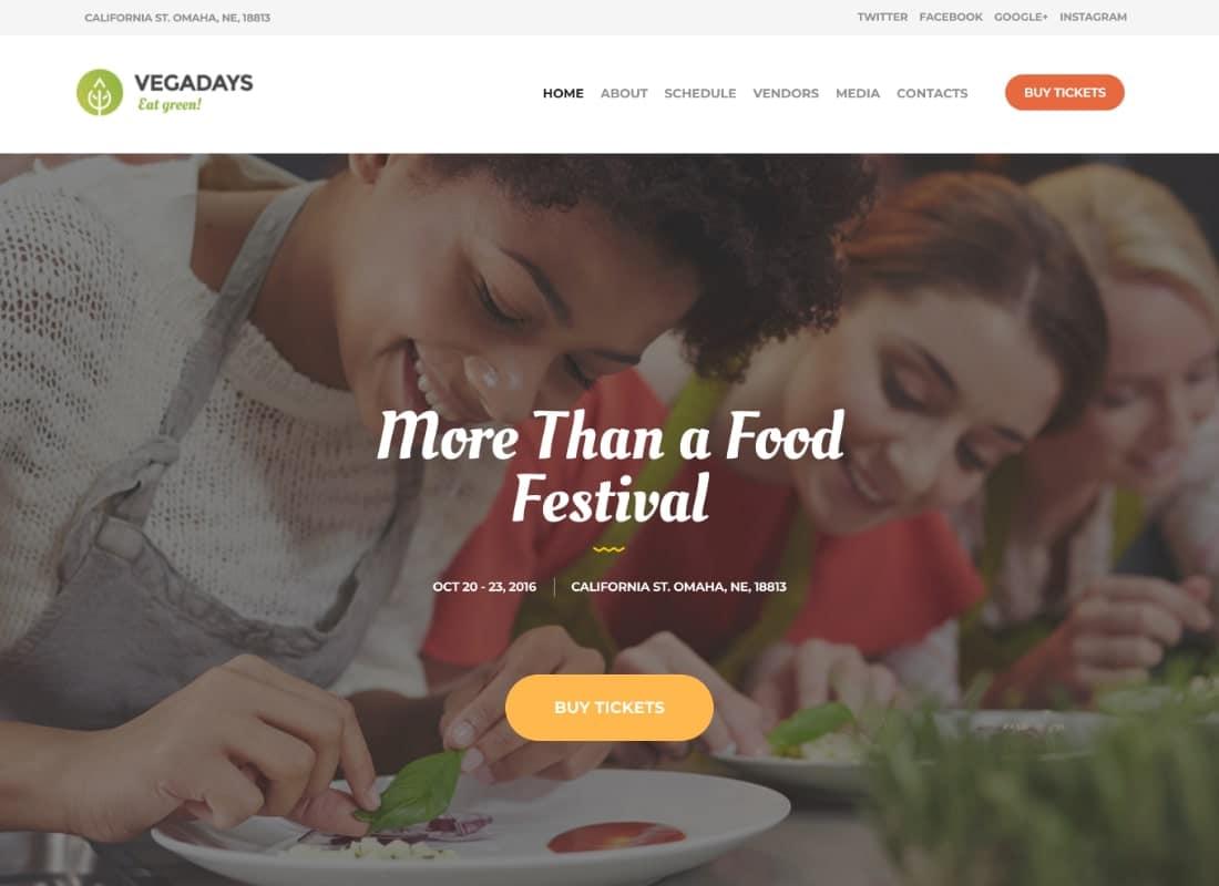 VegaDays - Vegetarian Food Festival & Event WordPress Theme Website Template