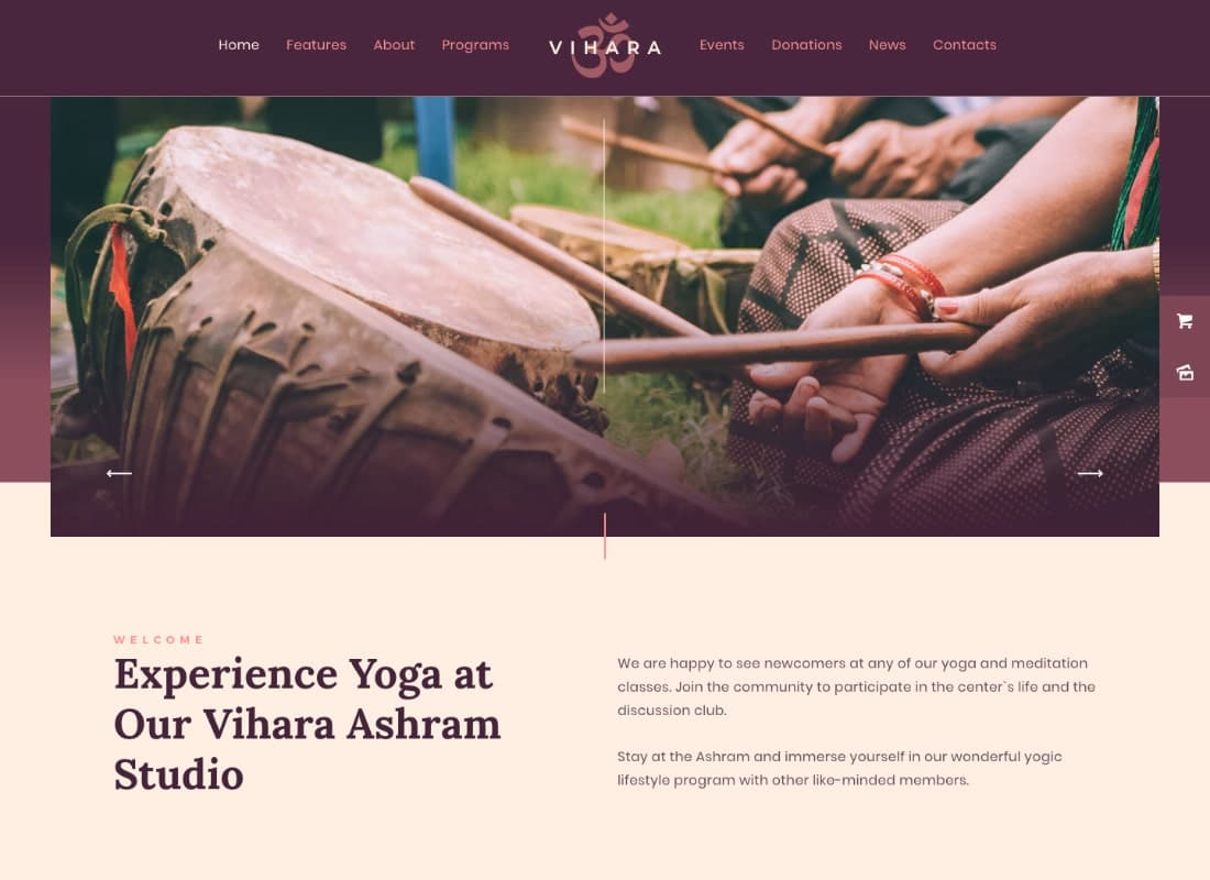 Vihara | Ashram Buddhist Temple WordPress Theme Website Template