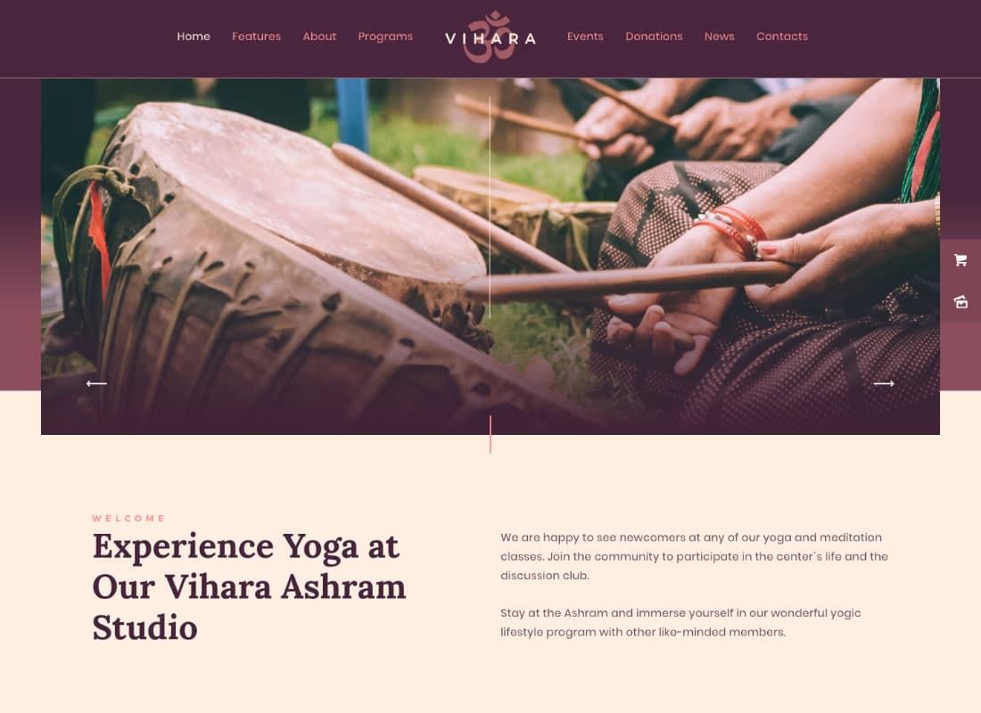 Vihara | Ashram Oriental Buddhist Temple WordPress Theme + RTL Website Template