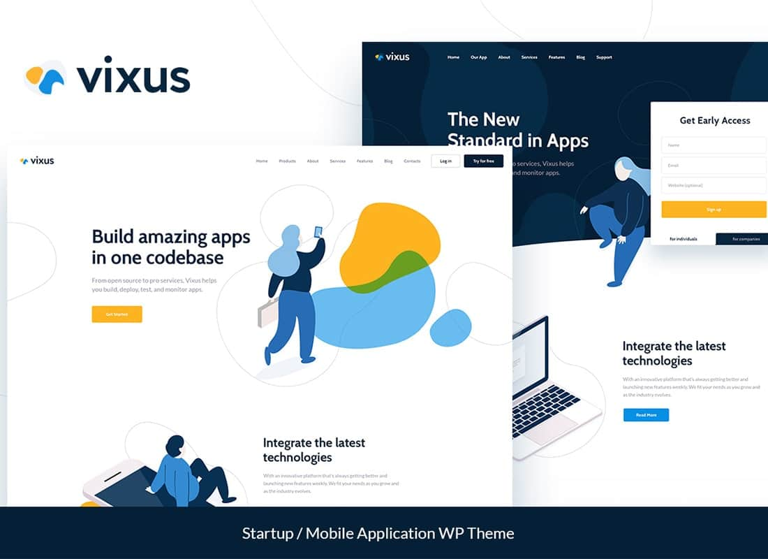 Vixus | Startup & Mobile App Landing Page WordPress Theme Website Template