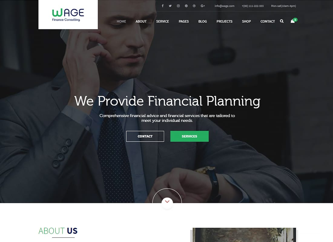 Wage - Business and Finance WordPress Theme   Website Template