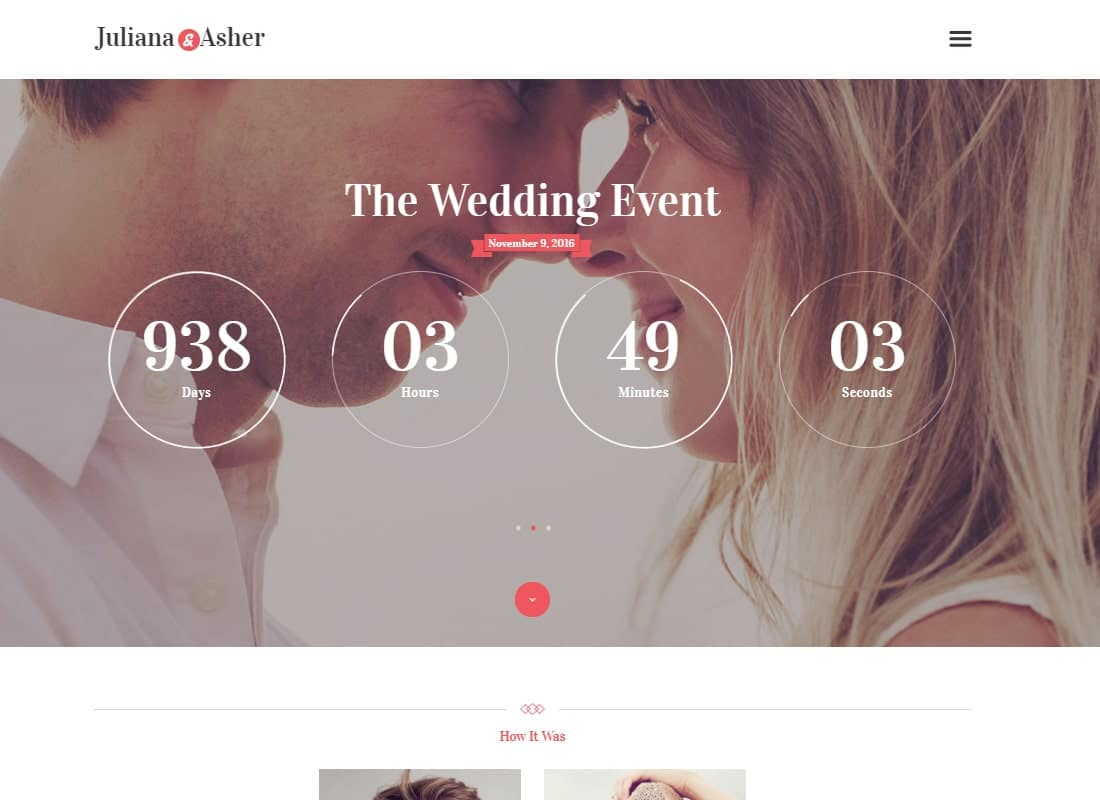 Wedding Day - Birthday, Marriage & Event WordPress Theme Website Template