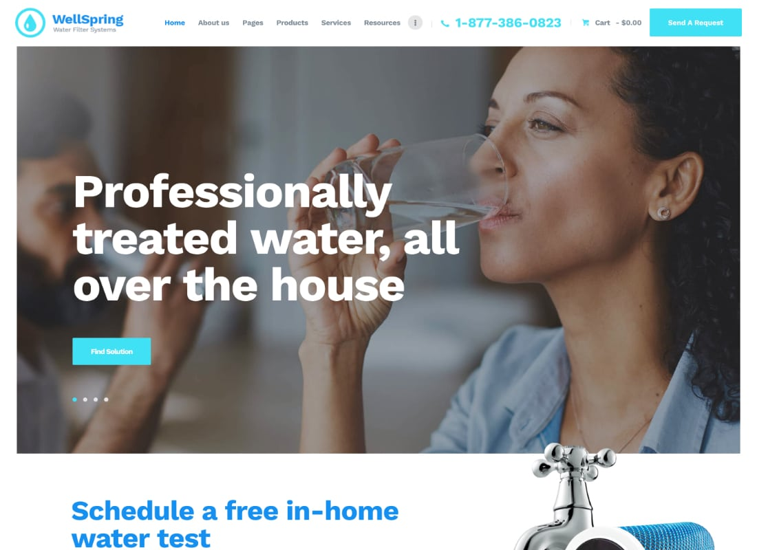 WellSpring | Water Filters & Drinking Water Delivery WordPress Theme Website Template