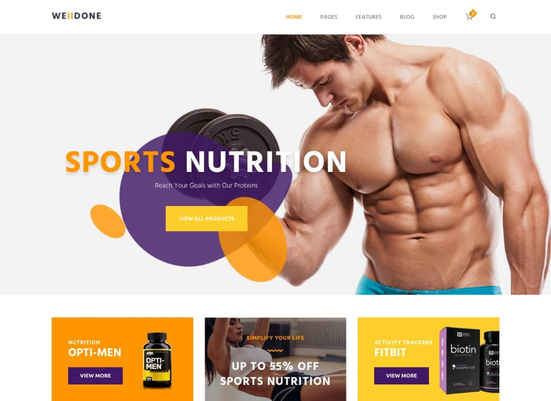 Welldone - Sports & Fitness Nutrition and Supplements Store WordPress Theme Website Template