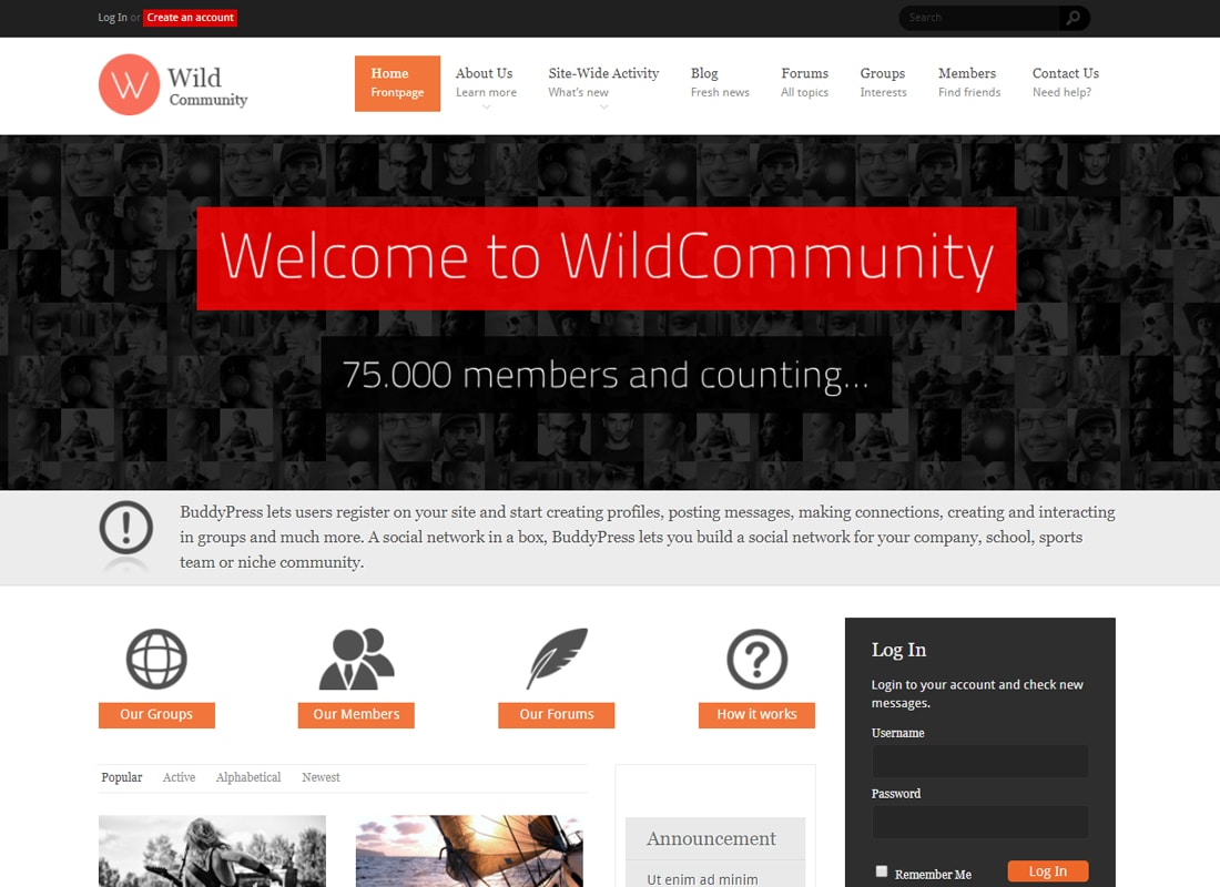 WildCommunity - BuddyPress Community Theme Website Template