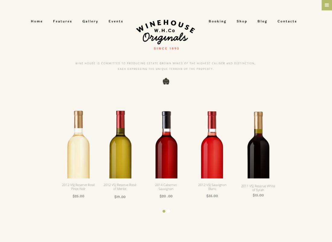 Wine House | Vineyard & Restaurant Liquor Store WordPress Theme Website Template
