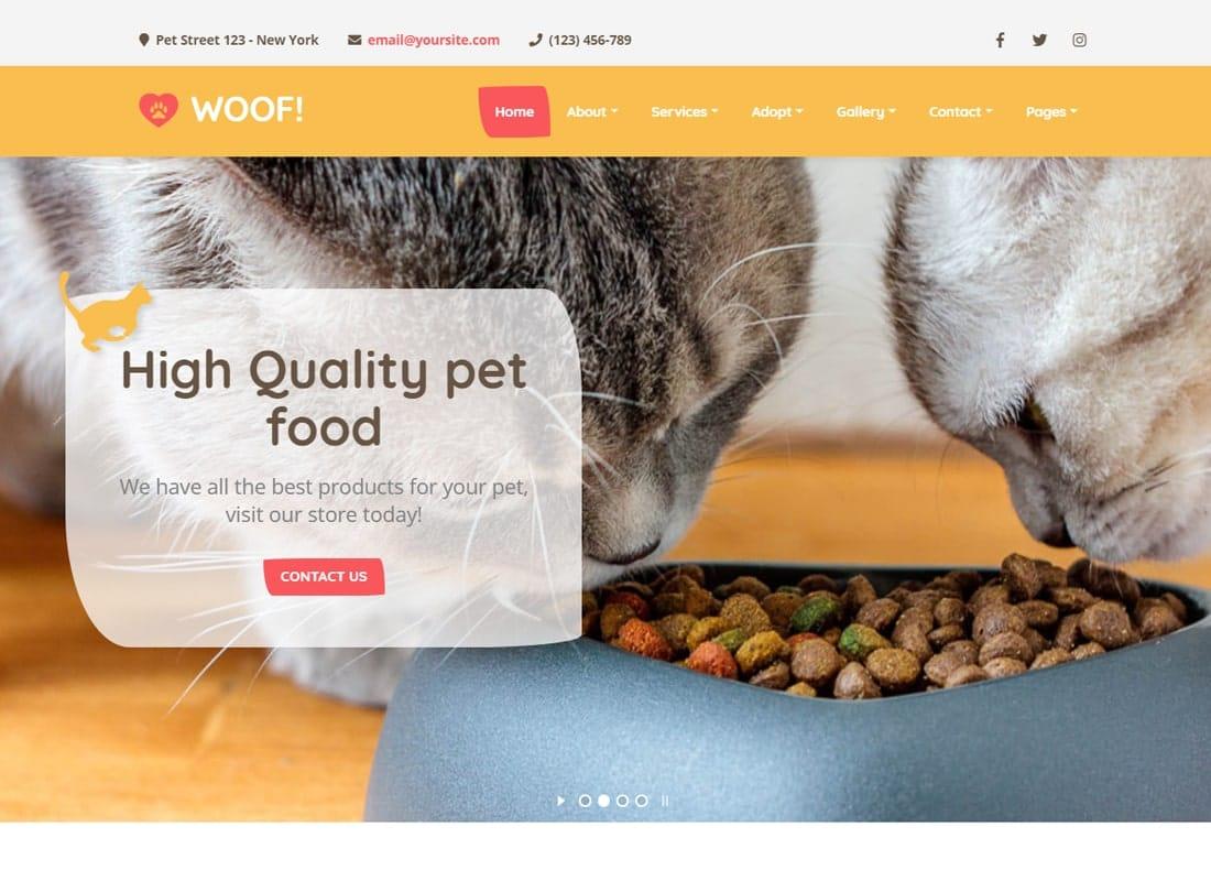 Woof! - Pet WordPress Theme Website Template