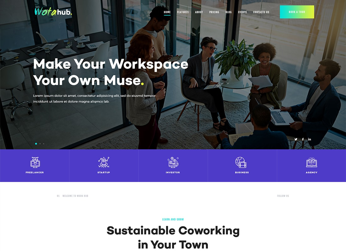WotaHub | Coworking Space WordPress Theme Website Template
