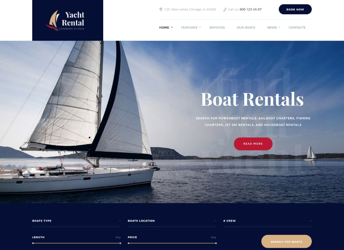 Yacht and Boat Rental Service WordPress Theme  Website Template