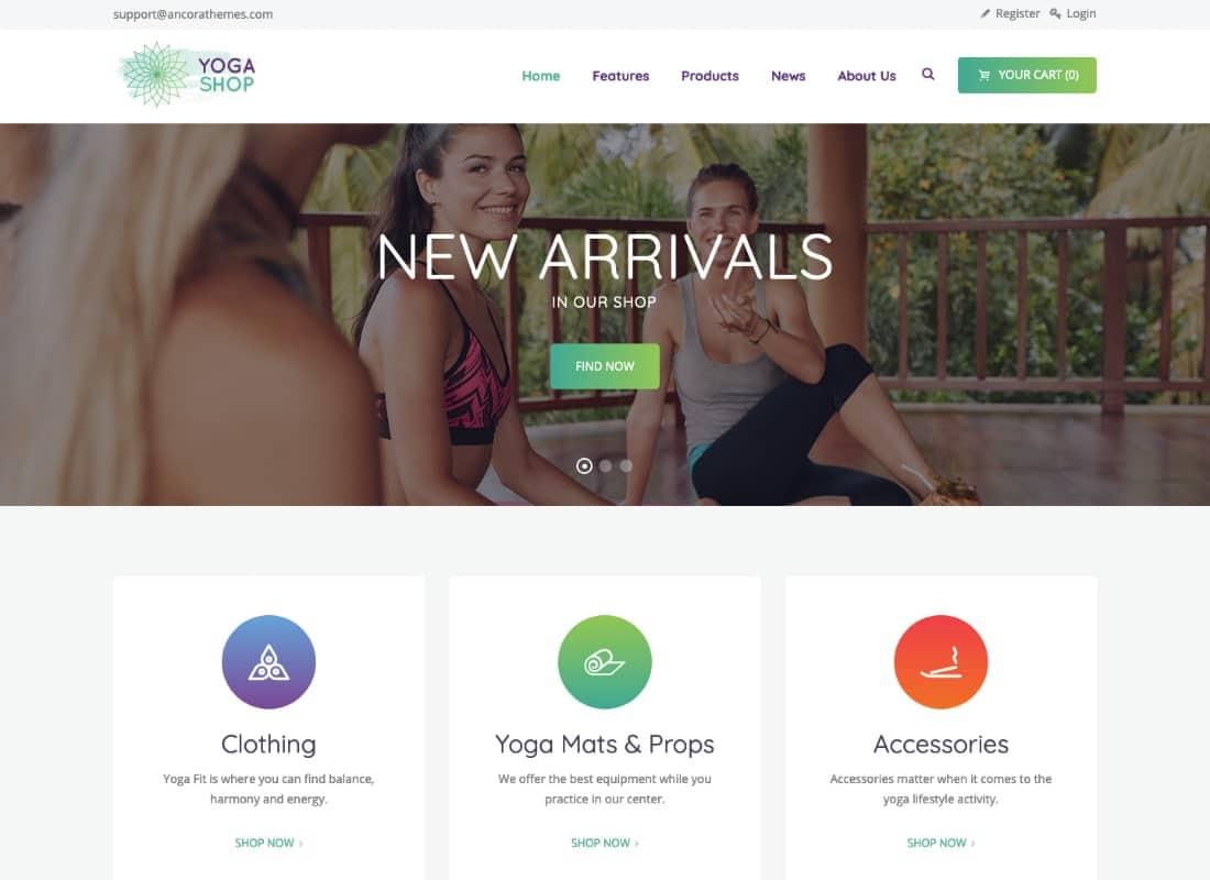 Yoga Shop - A Modern Sport Clothing & Equipment Store WordPress Theme Website Template
