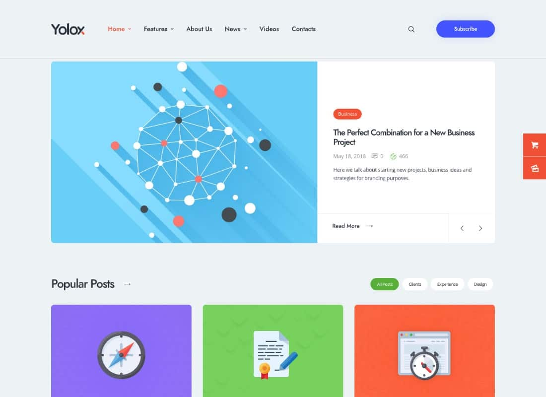 Yolox | Modern WordPress Blog Theme for Business & Startup Website Template