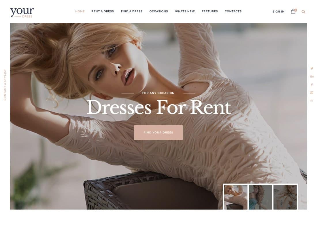Your Dress | Dress Rent Rental Services WordPress Theme Website Template