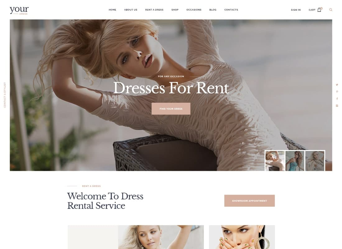 Your Dress | Dress Rent Rental Services WordPress Theme Website Template