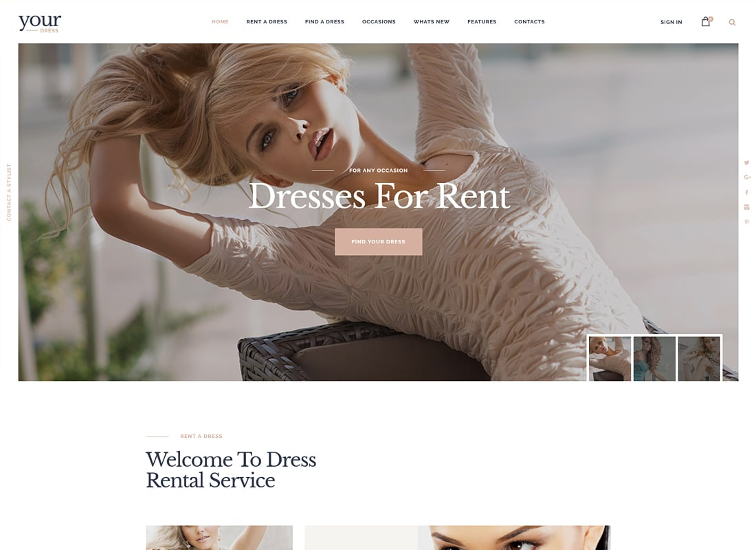 Your Dress - Dress Rent Rental Services WordPress Theme   Website Template
