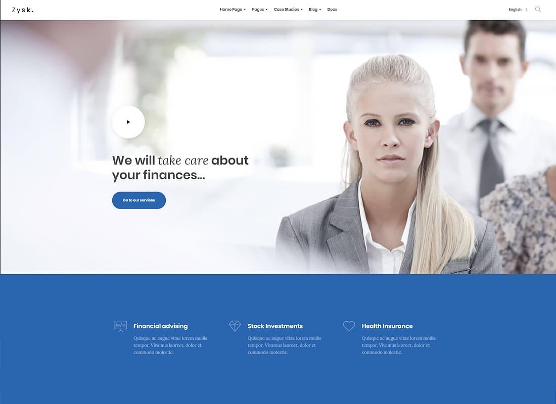 Zysk - Advisor & Finance WordPress Theme   Website Template