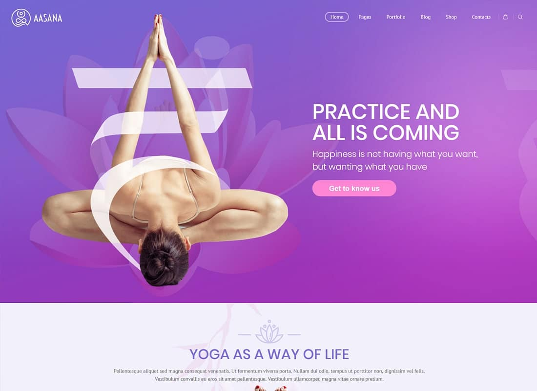 Aasana - Health and Yoga WordPress Theme Website Template
