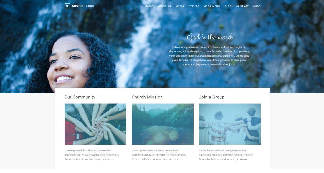 Adore Church | Responsive WordPress Theme Website Template