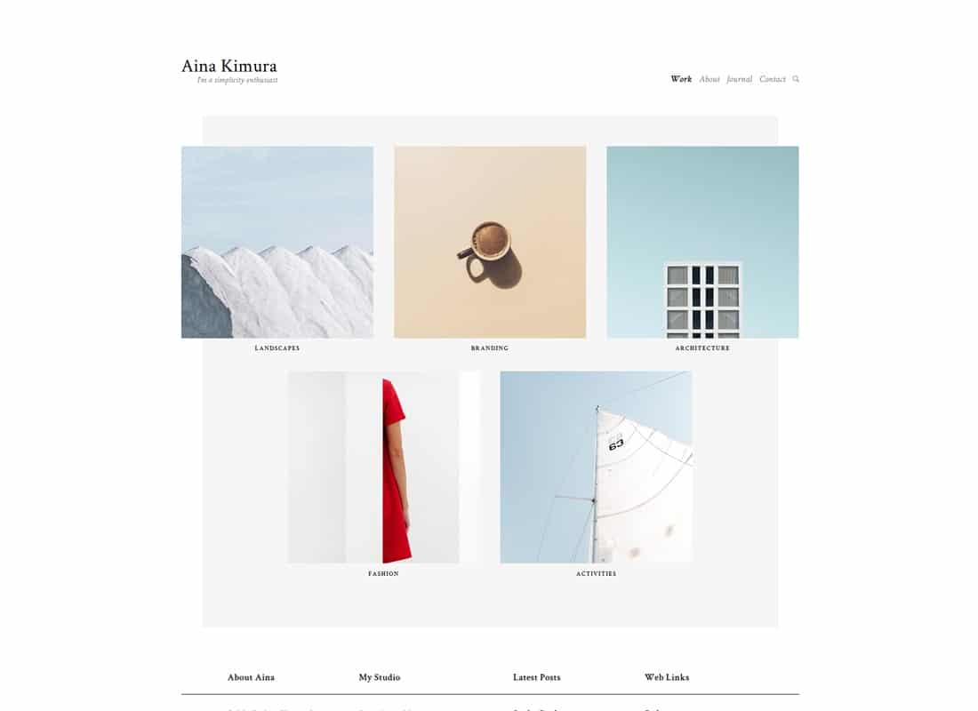 Aina | Minimal Photography and Portfolio WordPress Theme Website Template