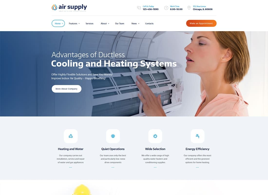 Air Conditioning Company and Heating Services WordPress Theme + RTL Website Template