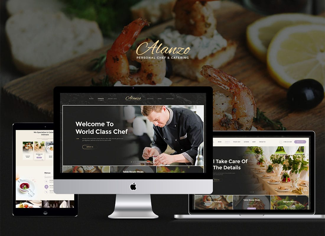 Alanzo | Personal Chef & Wedding Catering Event WordPress Theme Website Template