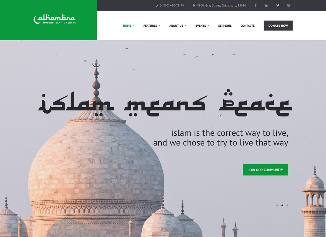 Alhambra | Islamic Centre WordPress Theme + RTL Website Template