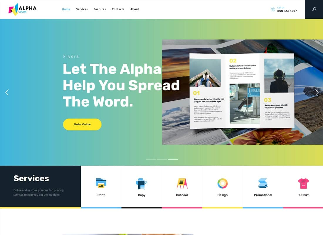 AlphaColor | Type Design & Printing Services WordPress Theme Website Template