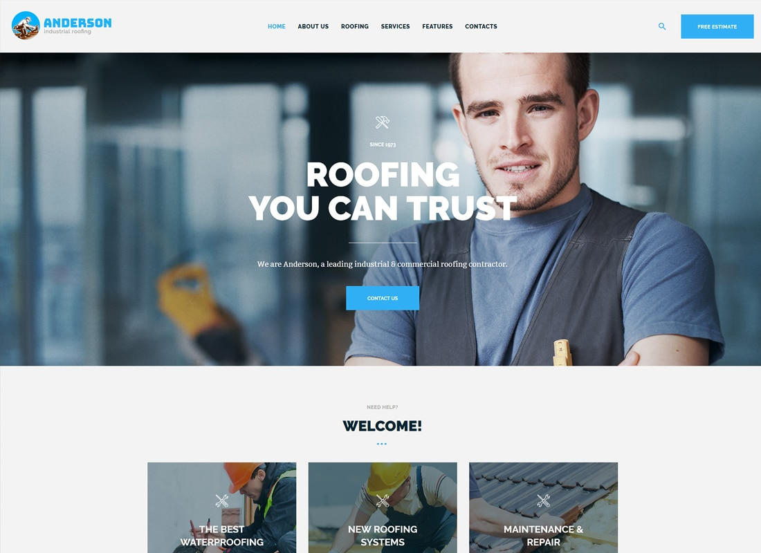 Anderson | Industrial Roofing Services WordPress Theme Website Template