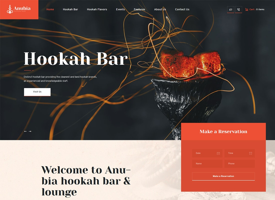 Anubia - Smoking and Hookah Bar WordPress Theme Website Template