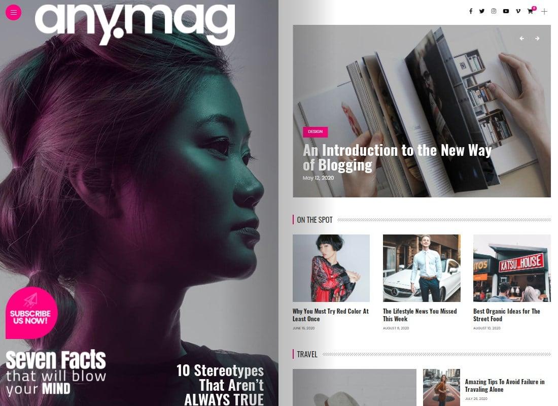 Anymag - Magazine Style WordPress Blog Website Template