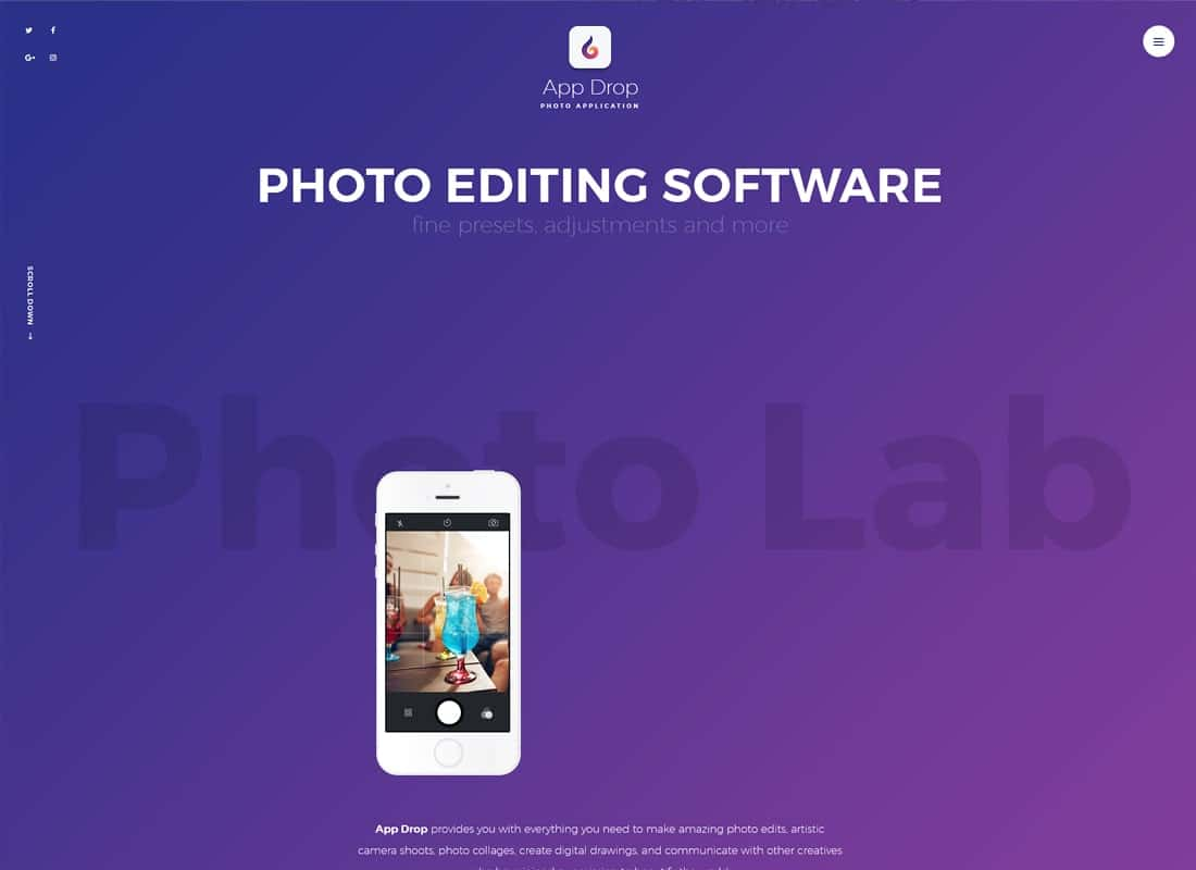 App Drop | Landing Page for Photo Editing Mobile Application WordPress Theme Website Template