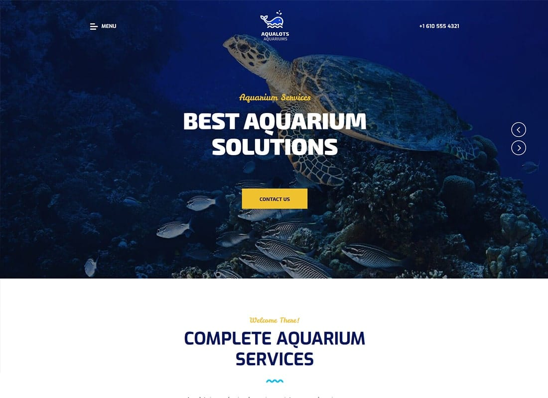 Aqualots | Aquarium Services WordPress Theme Website Template