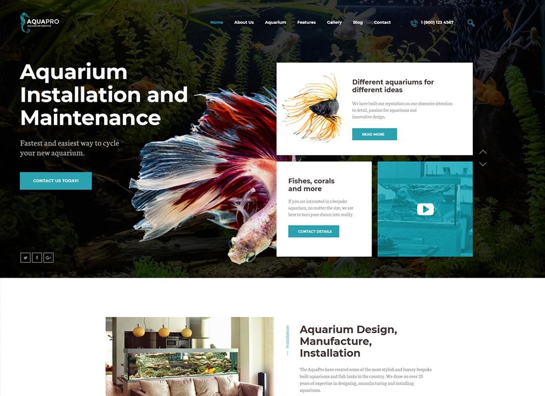 AquaPro | Aquarium Installation and Maintanance Services WordPress Theme + Store Website Template