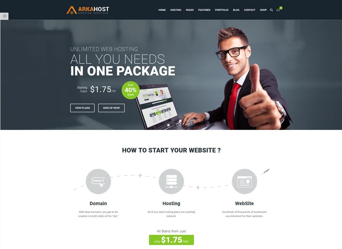 Arka Host - WHMCS Hosting, Shop & Corporate Theme Website Template