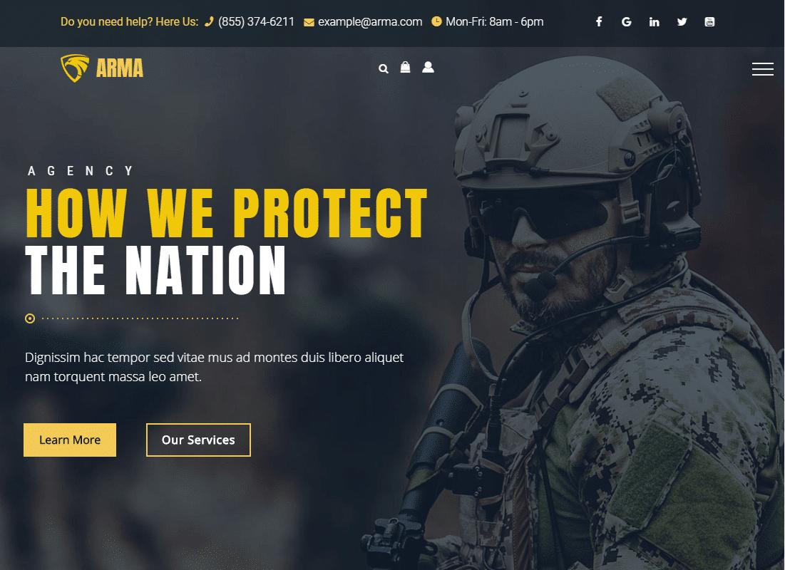 Arma - Military Service WordPress Theme Website Template