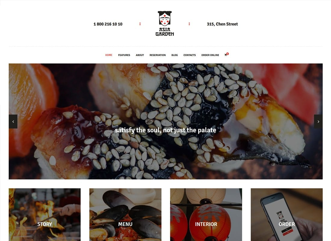 Asia Garden | Asian Food Restaurant WordPress Theme Website Template