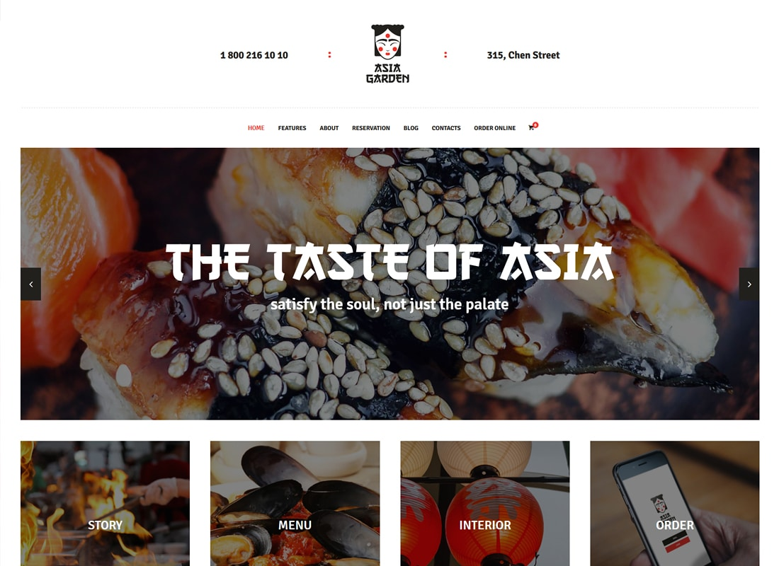 Asia Garden - Asian Food Restaurant WordPress Theme Website Template
