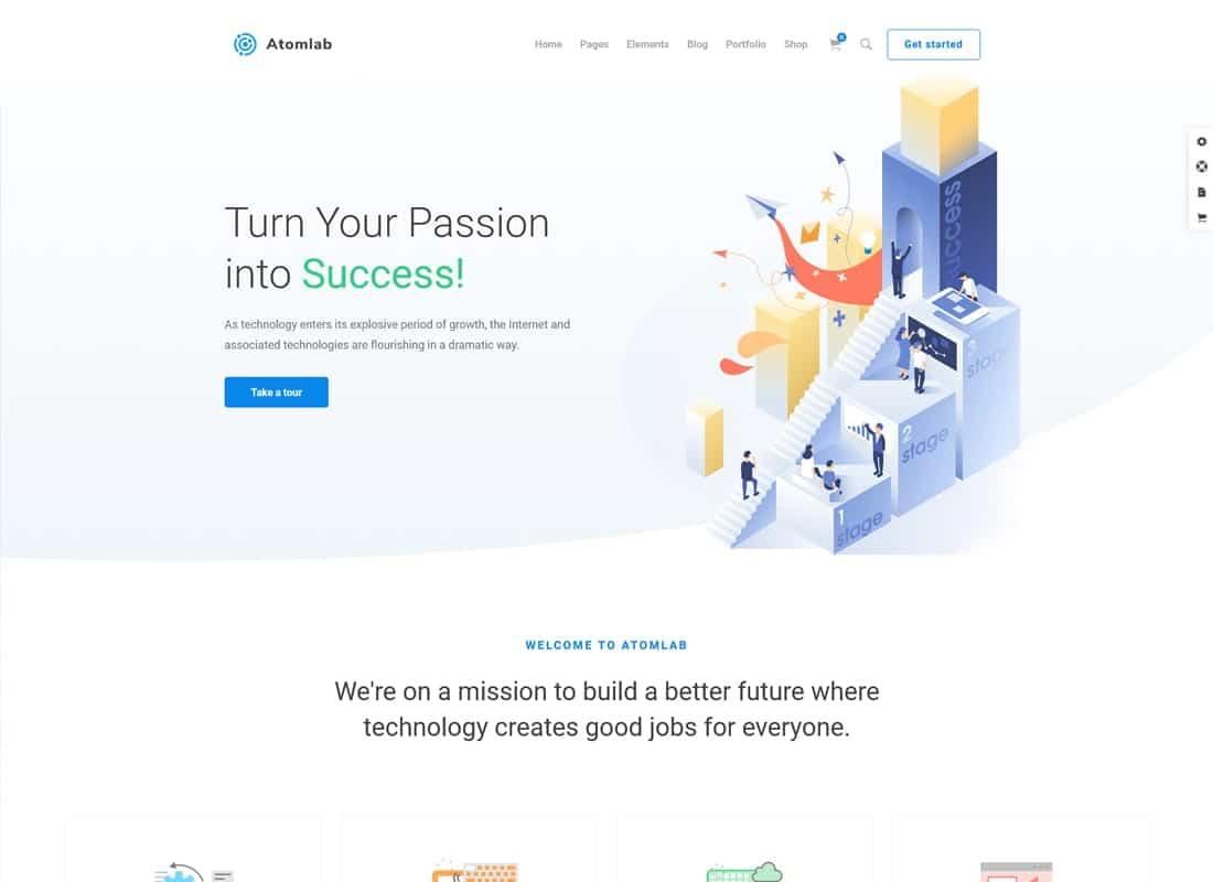 Atomlab - Multi-Purpose Startup WordPress Theme Website Template
