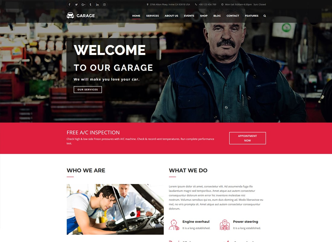 Automotive WordPress Theme - Garage   Website Template