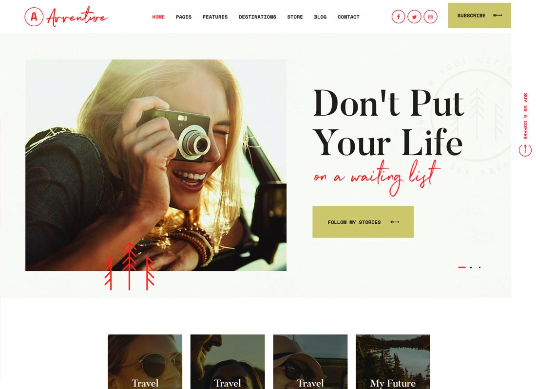 Avventure | Personal Travel & Lifestyle Blog WordPress Theme Website Template