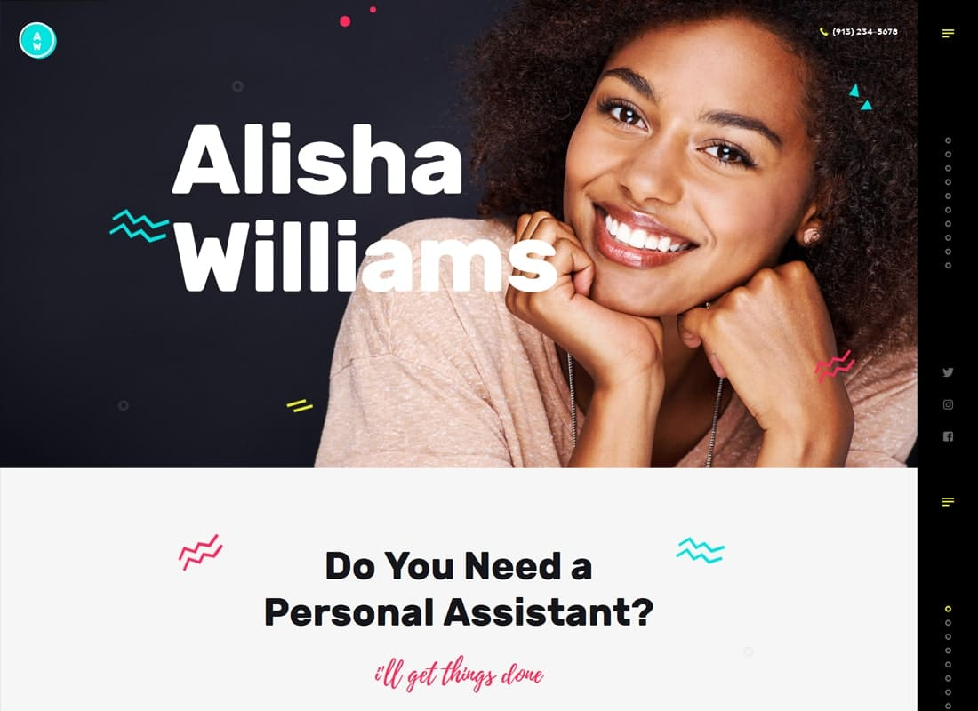 A.Williams | A Personal Assistant & Administrative Services WordPress Theme Website Template