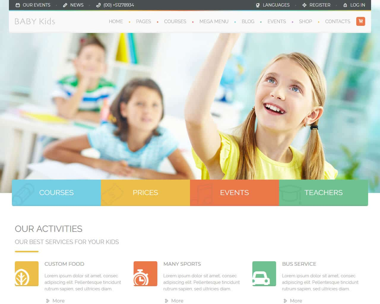 Baby Kids Website Template